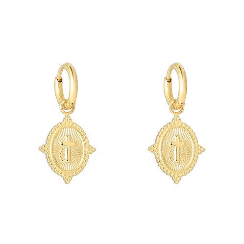 Cross earring - Goud
