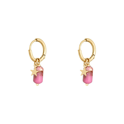 Pink as candy earring - goud