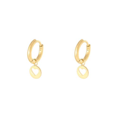 Floating heart earring - goud