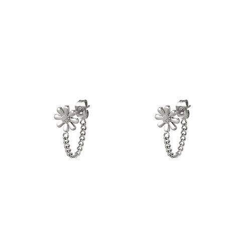 Daisy chain earring - zilver