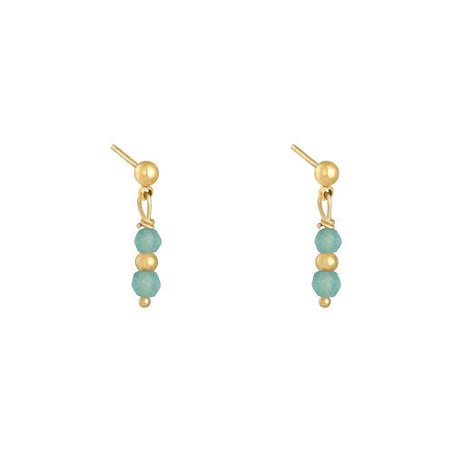 Turquoise fever earring - goud