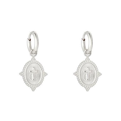 Cross earring - Zilver