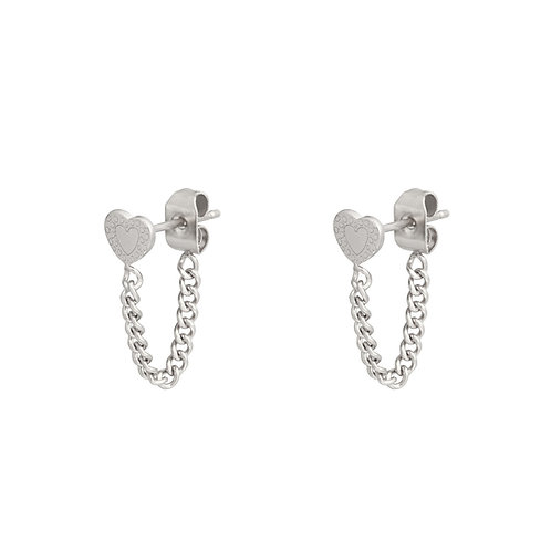 Connected heart earring - zilver