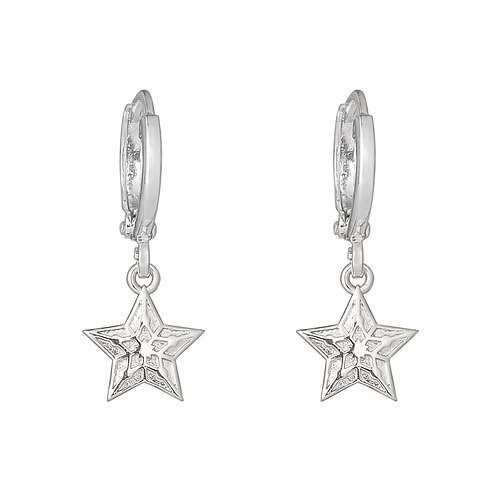 Earring sparkling star - Zilver