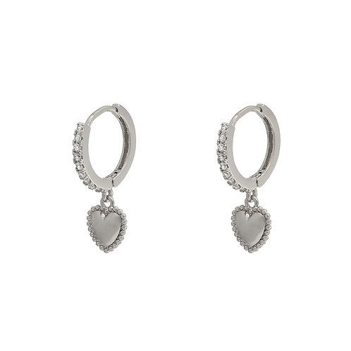 Sparkling heart earring - zilver