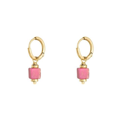 Lana pink earring - goud