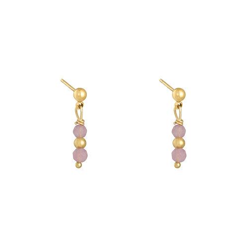 Pink fever earring - goud