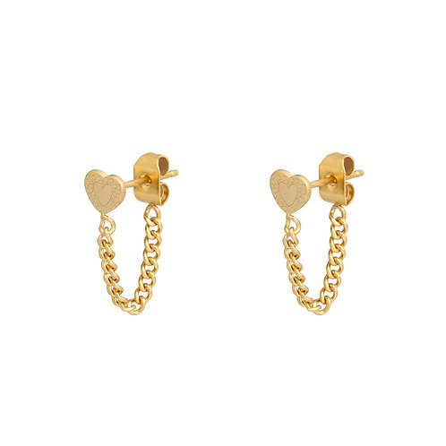 Connected heart earring - goud