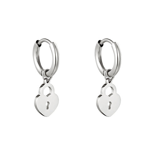 Locked heart earring - zilver