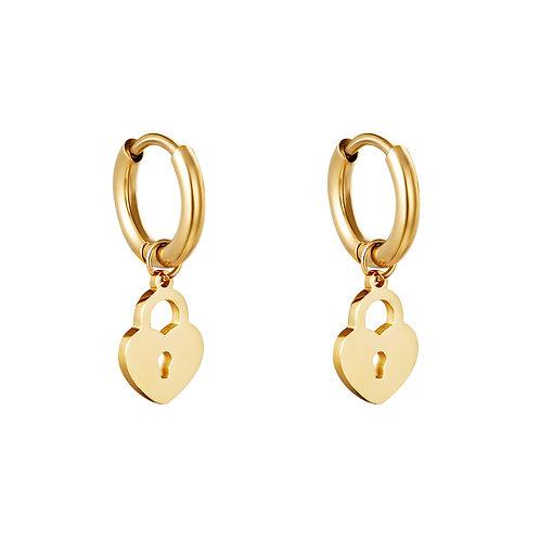 Locked heart earring - goud