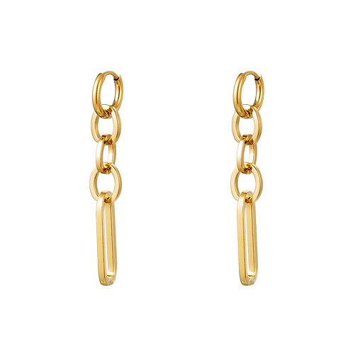 Chain lover earring - goud