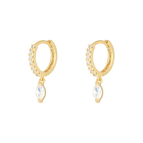 Diamond love earring - goud