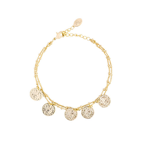 Bracelet double coin - goud