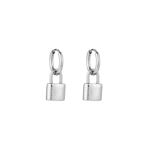 Lock me earring - zilver
