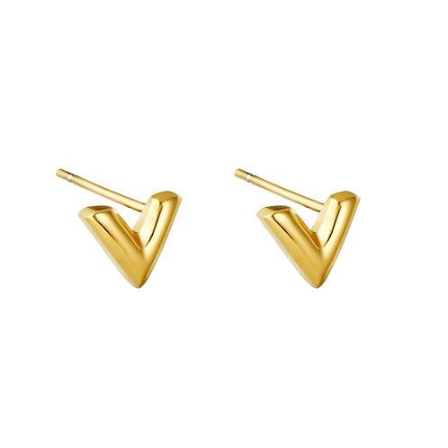V earring stud - goud