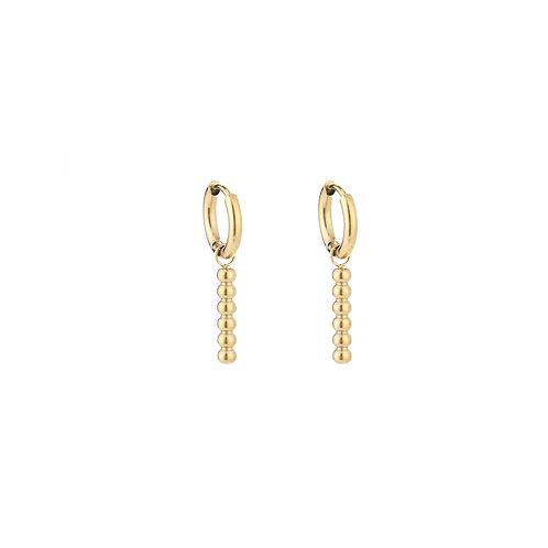 Dots bar earring - goud