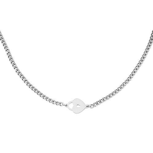 Locked heart necklace - zilver