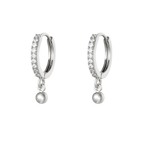 Dot glitter earring - zilver