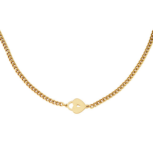 Locked heart necklace - goud