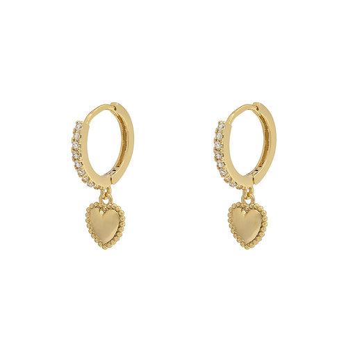 Sparkling heart earring - goud