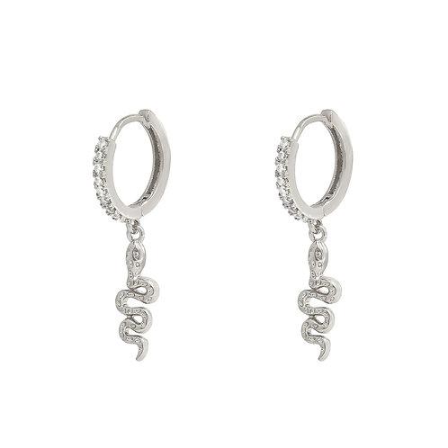 Earring Sparkle Snake - Zilver