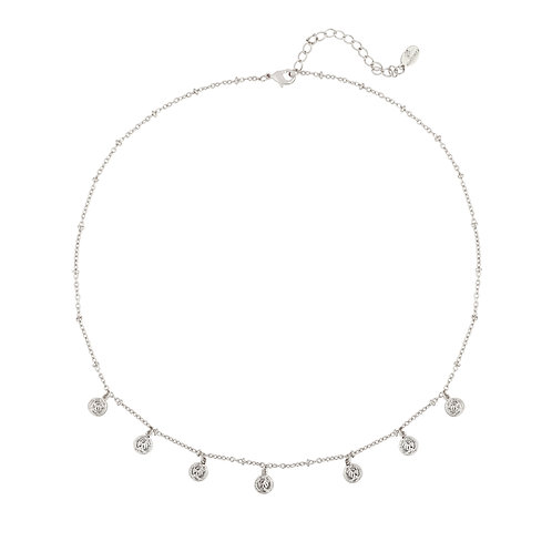 Necklace - Cute coin zilver