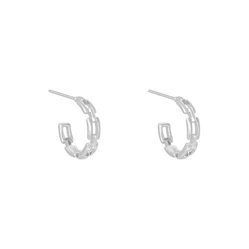 Linked hoop earring - zilver