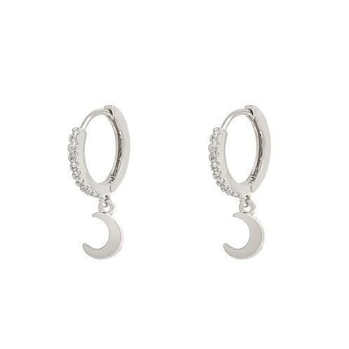 Earring Sparkle Moon - Zilver