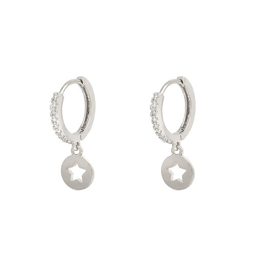 Shiny star earring - zilver