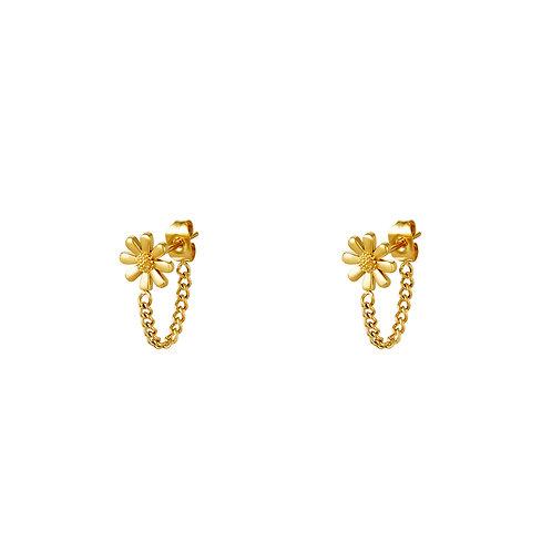 Daisy chain earring - goud