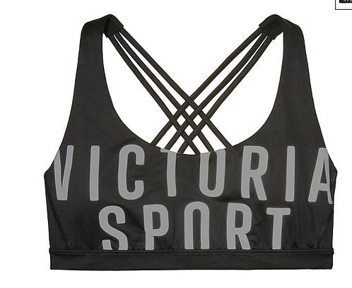 VICTORIA'S SECRET CROSSBACK SPORT BRA Black/Grey VS Logo