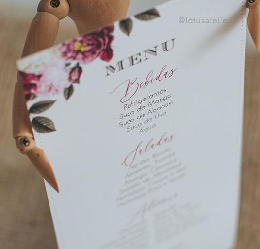 Menu para Casamento Marsala e Rose
