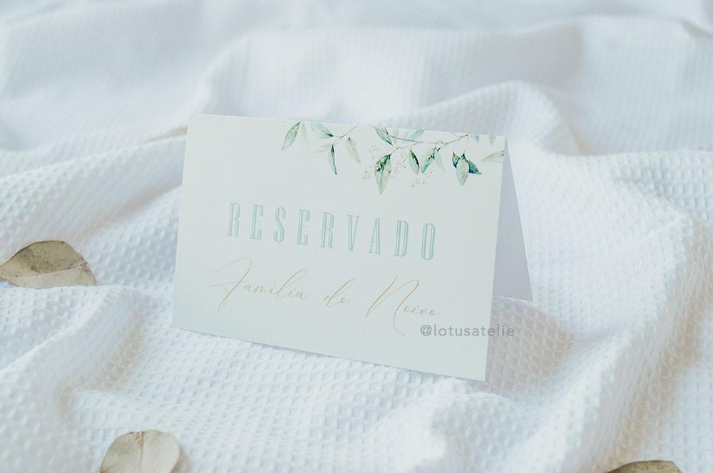Plaquinha Reservado para Casamento Folhas