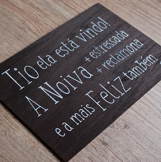 Placa de Madeira Rústica para Pajem e Daminha