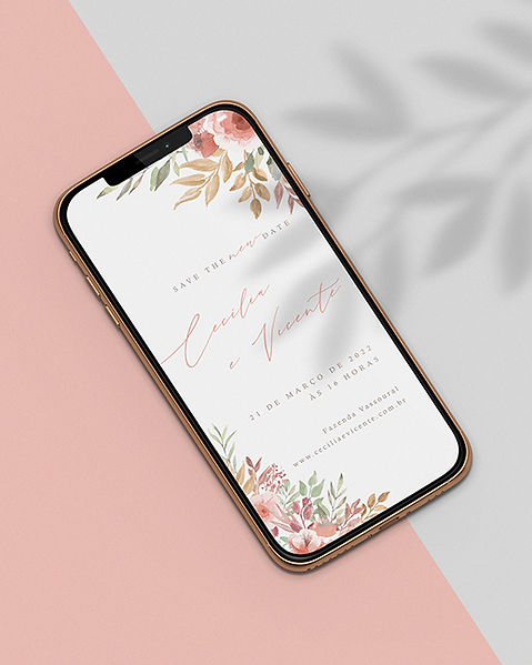 Save the Date para Casamento Digital Coral