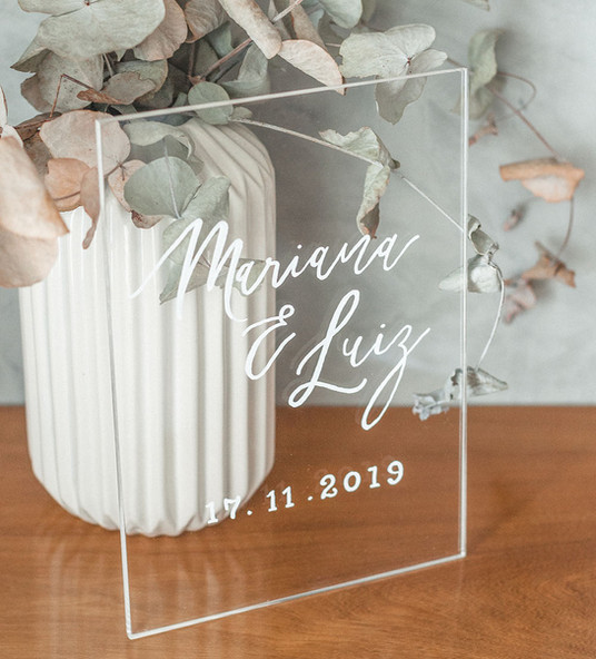 Placa de Acrílico para Casamento