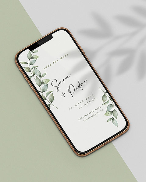 Save the Date para Casamento Digital Folhagem