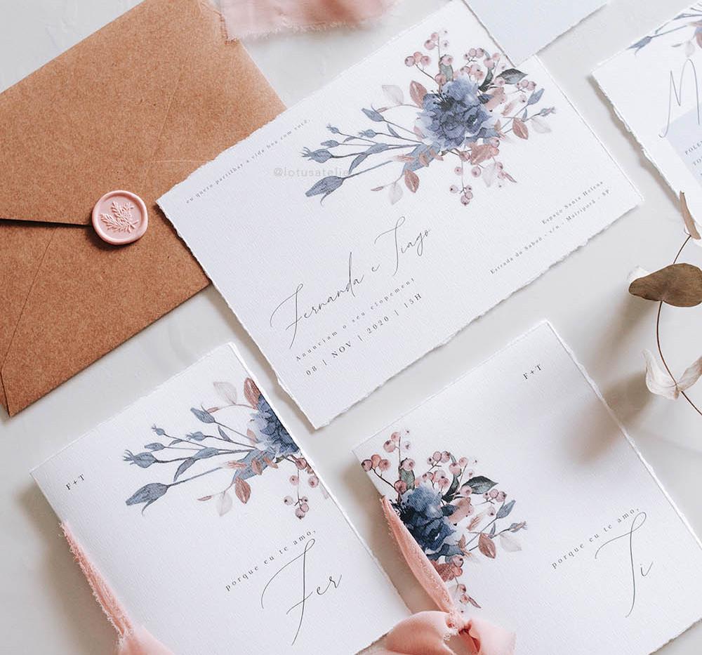 Convite de Casamento Afago Azul