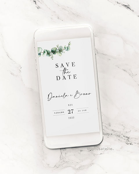 Save the Date para Casamento Digital Eucalipto