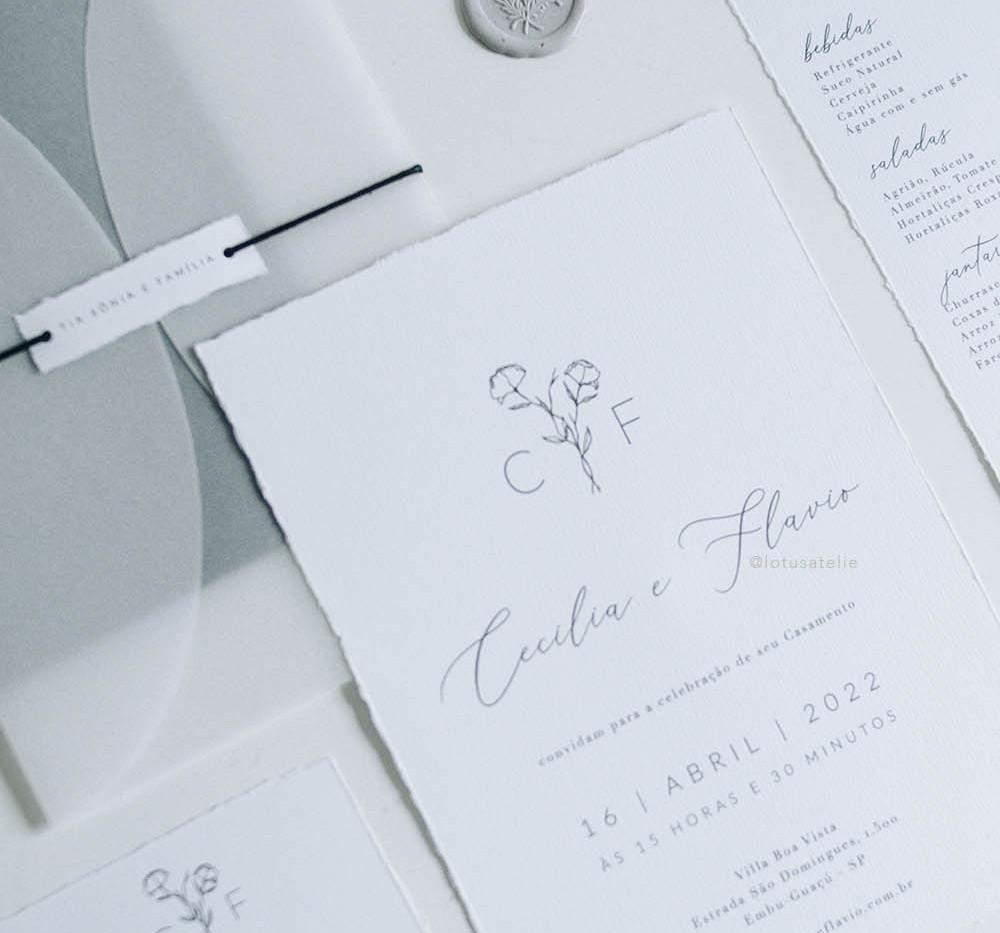 Convite de Casamento Minimalista Singelo