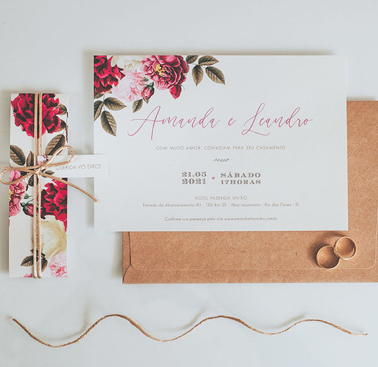 Convite de Casamento Marsala e Rosê