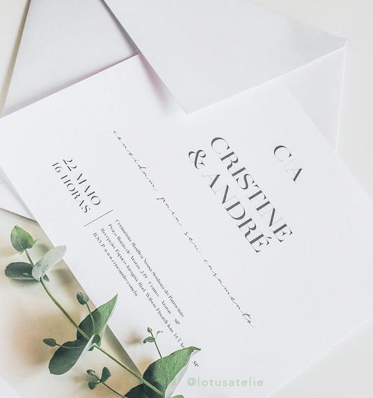 Convite de Casamento Minimalista Cris e André
