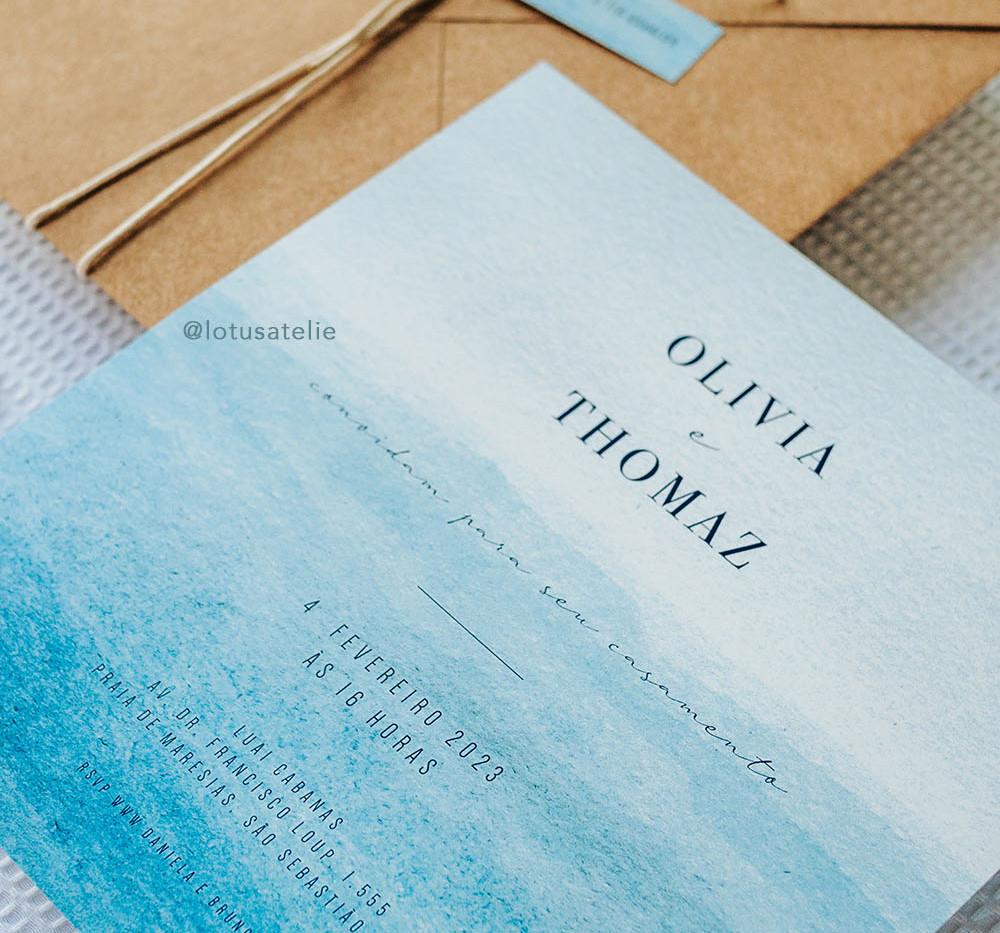 Convite de Casamento Praia Azul