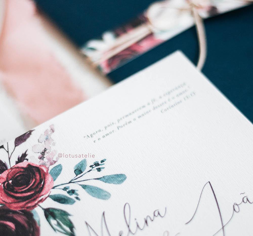 Convite de Casamento Burgundy