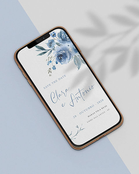 Save the Date para Casamento Digital Azul Serenity