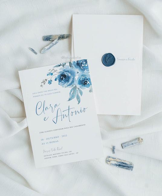 Convite de Casamento Azul Serenity