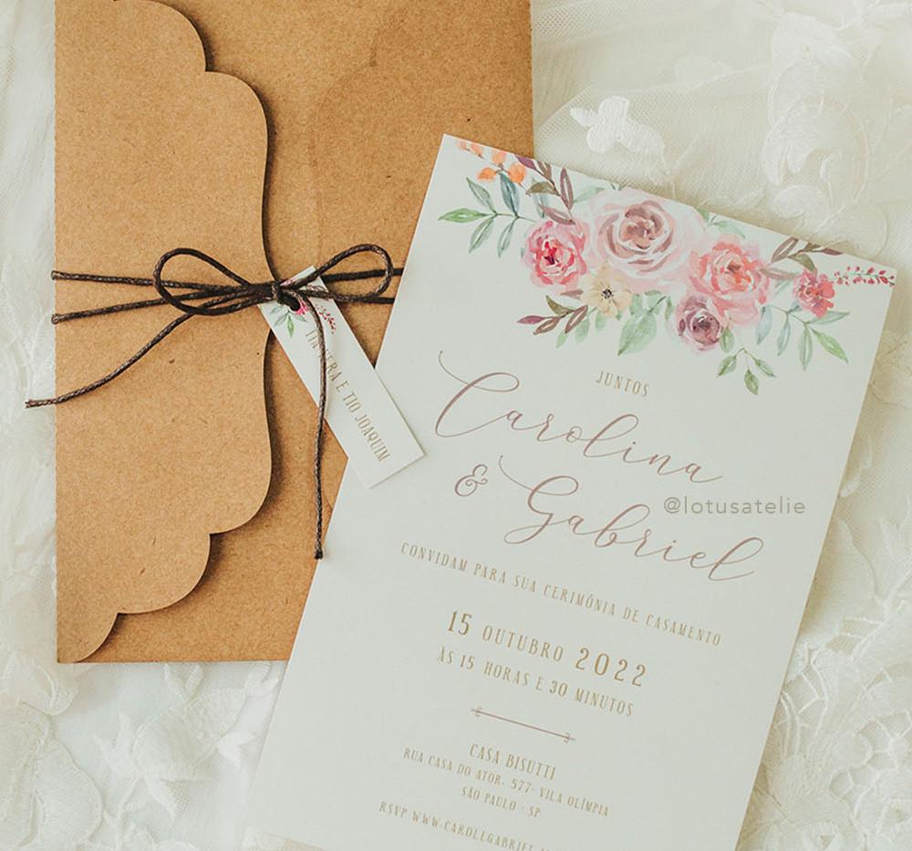 Convite de Casamento Romântico Carol e Gabriel