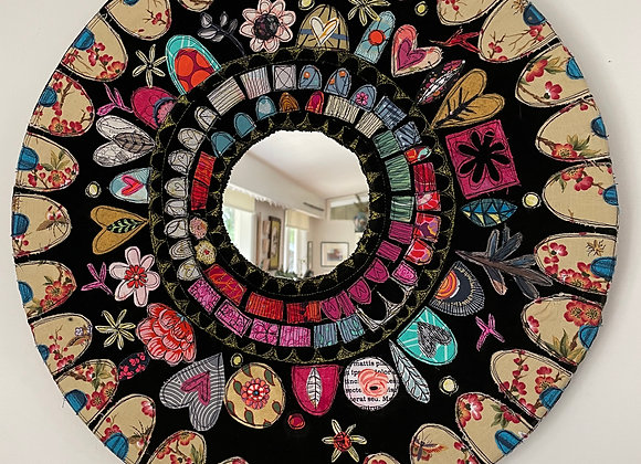 applique mosaic style mirror with scallop edge