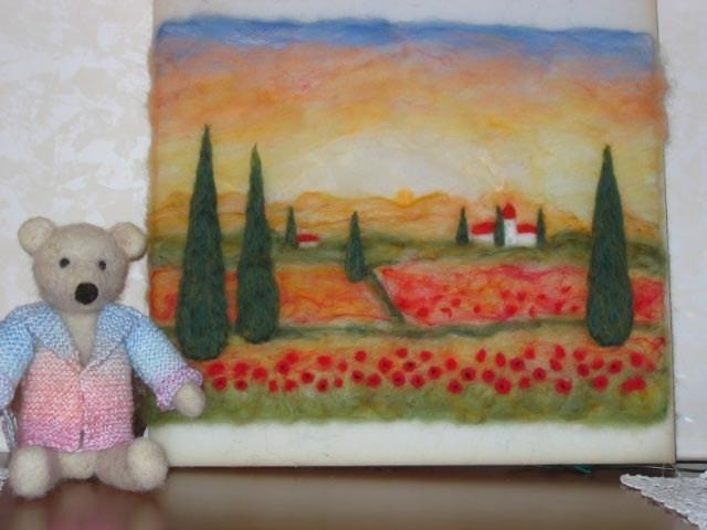 Landschaft und Teddy