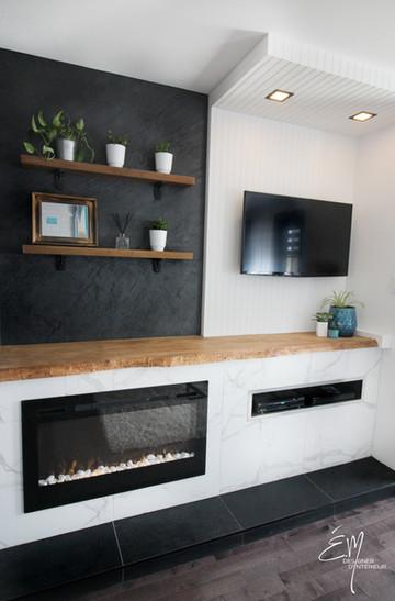 Unité mural et intégration d'un foyer électrique